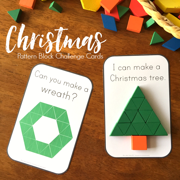Christmas Printable Challenge Cards - Easy to read, printable Christmas cards perfect for use with wooden pattern blocks. Three different sets of cards to challenge preschoolers while they learn about shapes | you clever monkey
