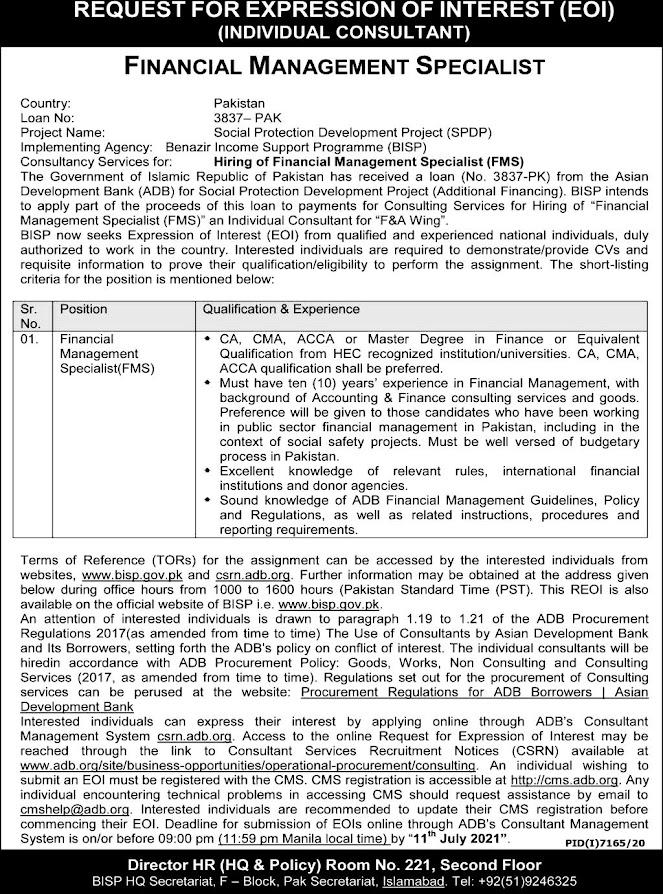 Latest Jobs in Benazir Income Support Programme (BISP) 2021- Apply online