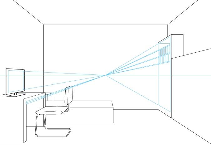 Perspektif satu titik menggambar detail furnitur