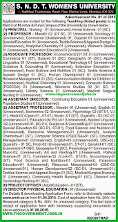 SNDT Women's University Recruitments (www.tngovernmentjobs.in)