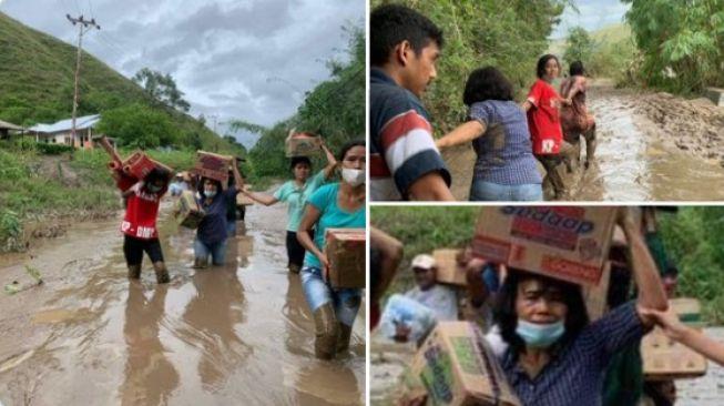 Respek! Netizen Beri 'Hormat' untuk Istri Bupati Sumba Timur yang Viral Menjunjung Bantuan Bencana