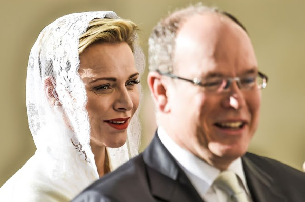 Pope Francis meets Prince Albert II of Monaco, Princess Charlene of Monaco and their delegation during at the Apostolic Palace