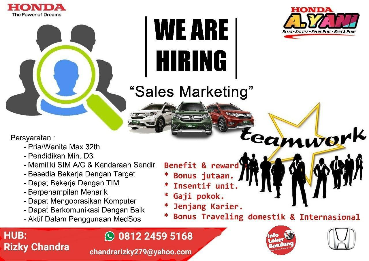 Lowongan Kerja Sales Marketing Honda Ahmad Yani Bandung Juli 2019