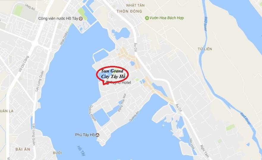 Vị trí chung cư sun Group Quảng An.