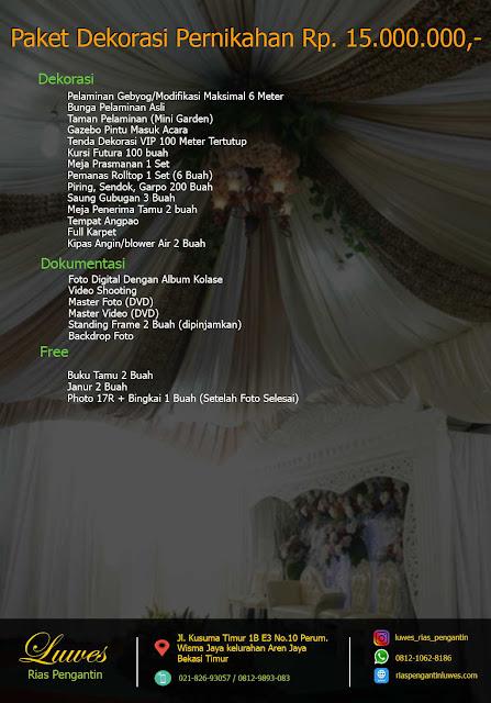 Paket dekorasi pelaminan dan tenda pernikahan