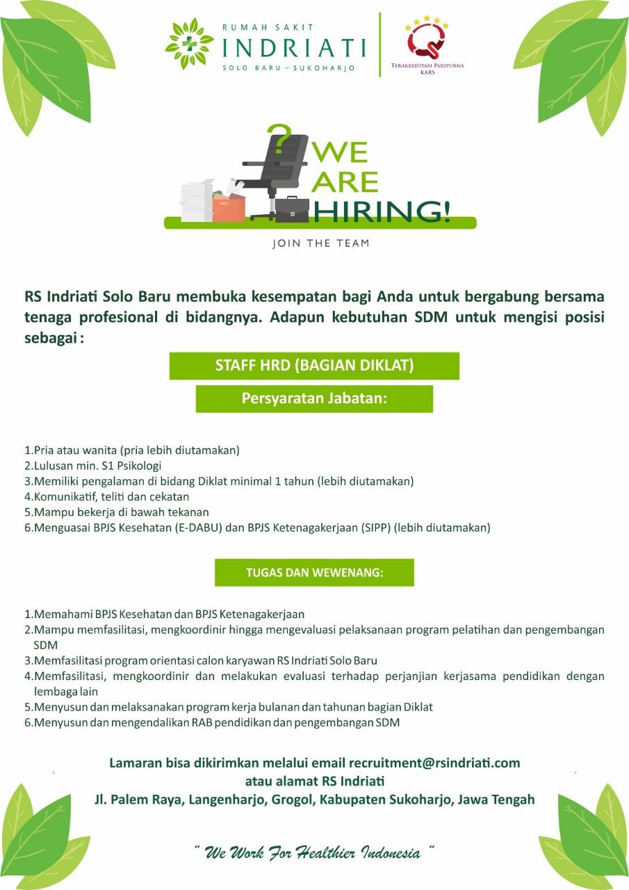 Lowongan Kerja Rumah Sakit Indriati Solo Baru Posisi Staff Hrd Juni Juli 2019 Loker Swasta