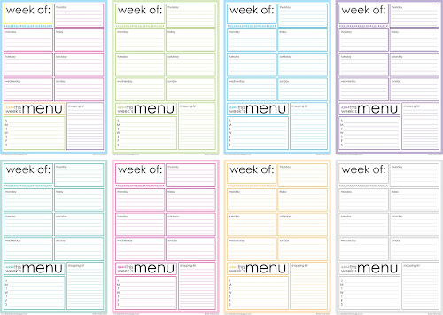 photo relating to Weekly Planner Pages named Cost-free Printable Weekly Menu Planner artsy-fartsy mama