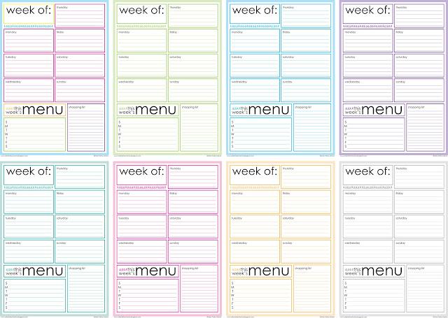 Free Printable Weekly Menu Planner artsy-fartsy mama - Free Printable Weekly Planner