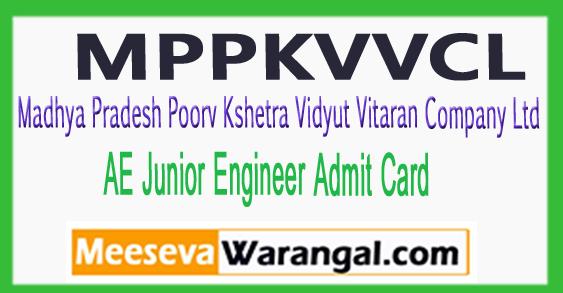 MPCZ AE Junior Engineer Admit Card 2017