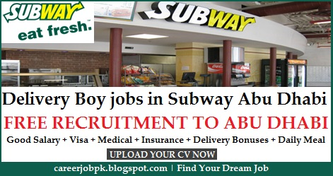 Motorcycle Delivery Boy jobs in Subway Restaurant Abu Dhabi