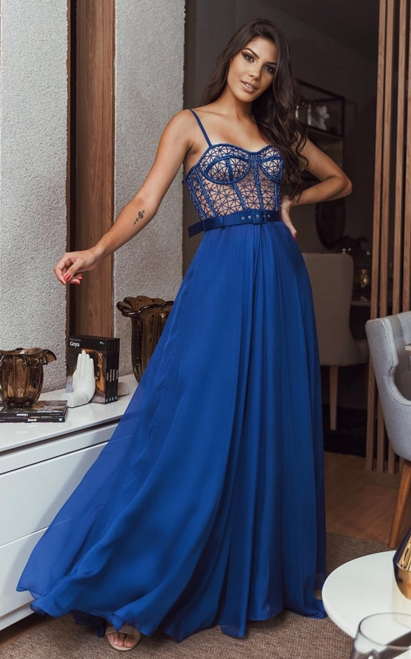 vestido longo azul royal para madrinha de casamento