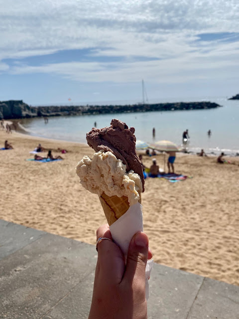 Ice cream cone by the beach in Puerto Mogan, Gran Canaria, Spain