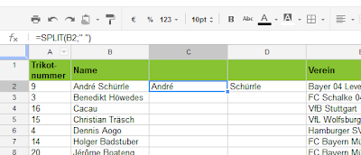 Die Split-Funktion in Google Docs