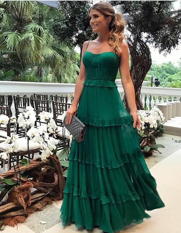 vestido de festa longo verde bandeira para casamento