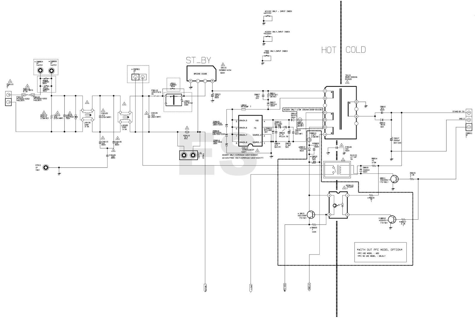 tv power supply schematic diagram