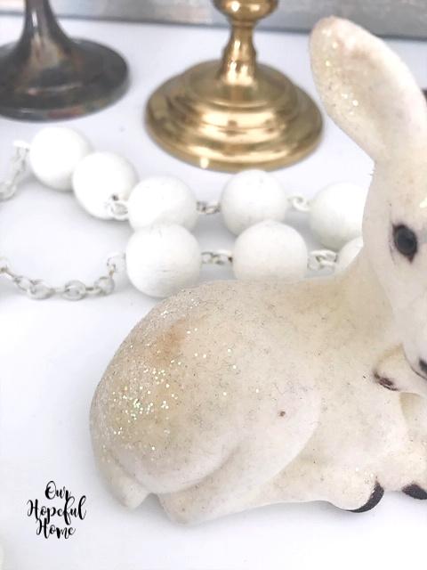 glitter white felt vintage deer figurine