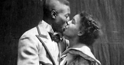 Black couple kissing in silent film, Something Good-Negro Kiss