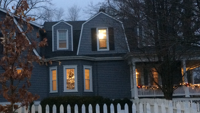 Christmas lights on historic houses in Kirkwood Missouri