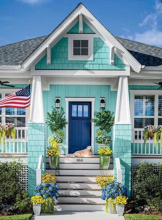 Turquoise Painted House Exterior Wall Color Ideas
