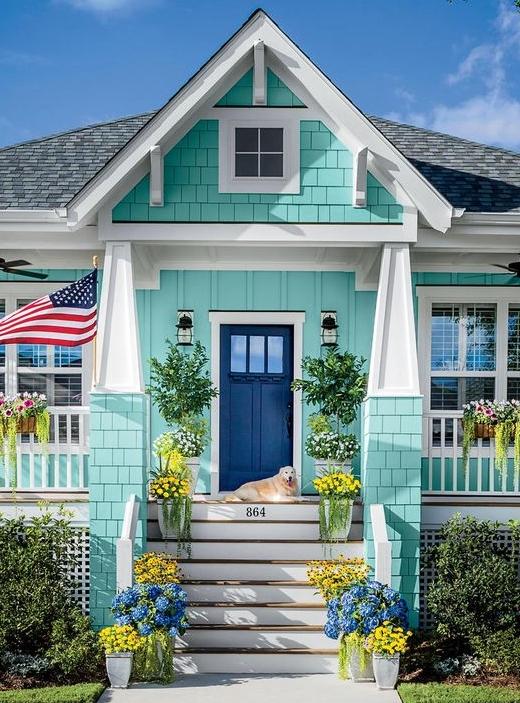 Ocean Beach Inspired Painted Houses Homes In Blue Turquoise Sea Green Coastal Decor Ideas Interior Design Diy Shopping