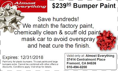 Discount Coupon $239.95 Bumper Paint Sale December 2018