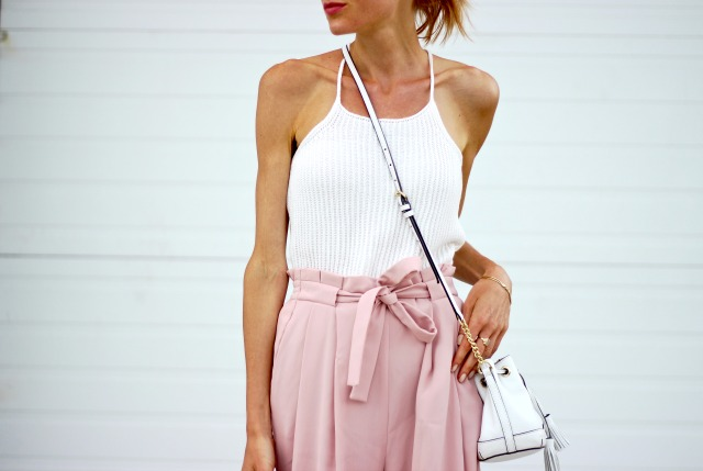 Blush Zara Culottes, Shein White Shaghetti Strap Sweater Cami, Summer meets Fall wardobe