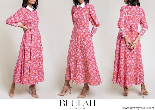 Kate Middleton wore Beulah London Calla Rose Red Floral Shirt Dress