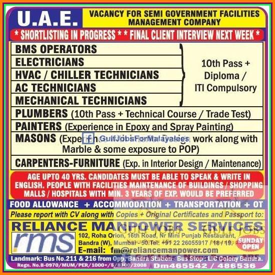 Government Job Vacancies For UAE