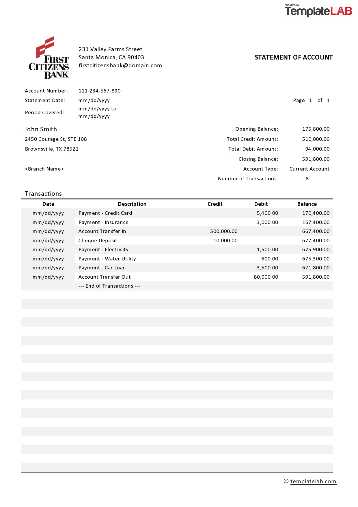 21 Editable Bank Statement Templates Free - Print Worksheets With Credit Card Statement Template