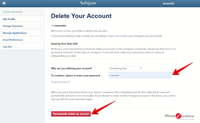 How To Delete Instagram Account Easily - Step 3