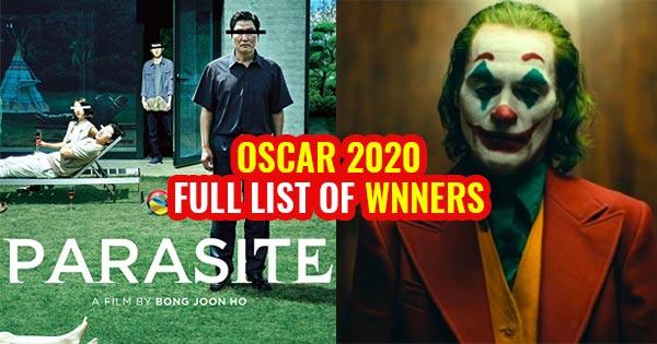 oscar 2020 winners full list joker best actor parasite best picture