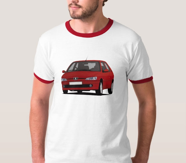 Cornering red Peugeot 306 GTi-6 on a T-shirt