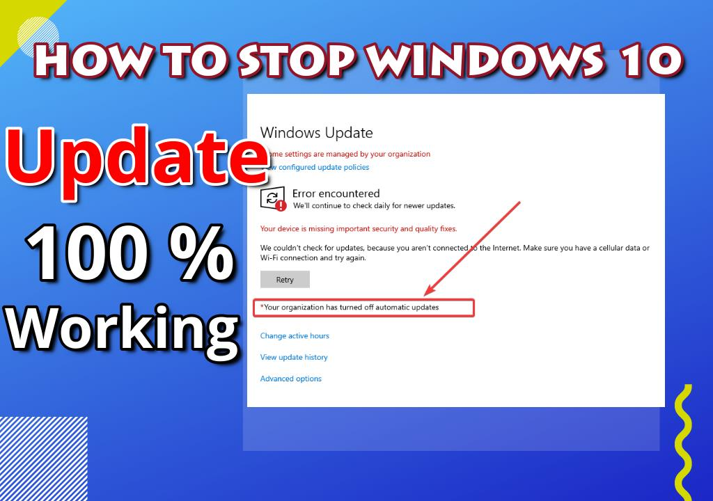 how to stop updates on windows 10 version 1809