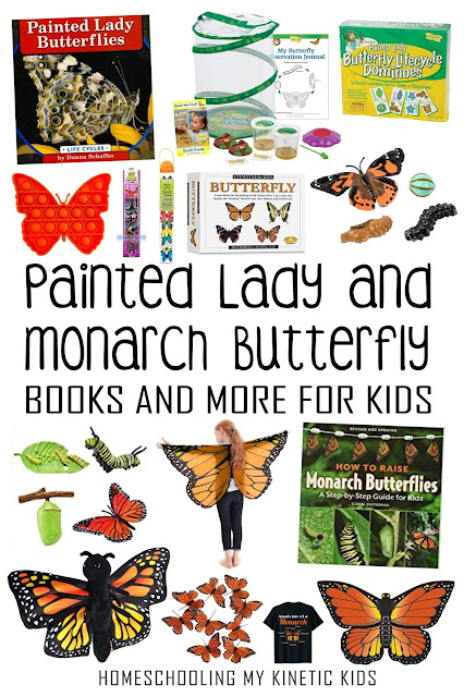 Painted Lady and Monarch books and toys for learning about butterflies and their life cycles