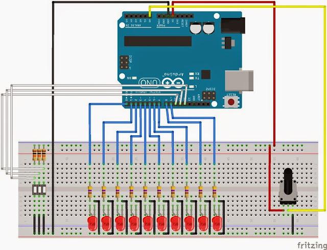 Montagem sequencial de 10 LEDs com Arduino