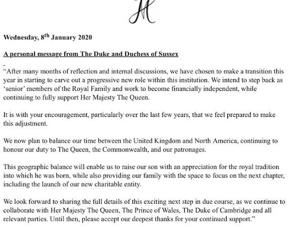 Książę i księżna Sussex chcą wycofać się z pełnienia pełnych obowiązków królewskich!