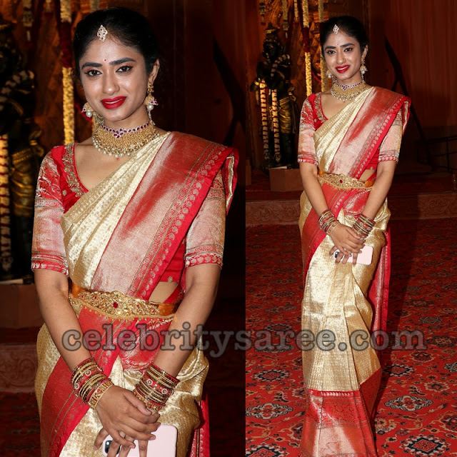 Golden Color and Red Kanjeevaram Saree