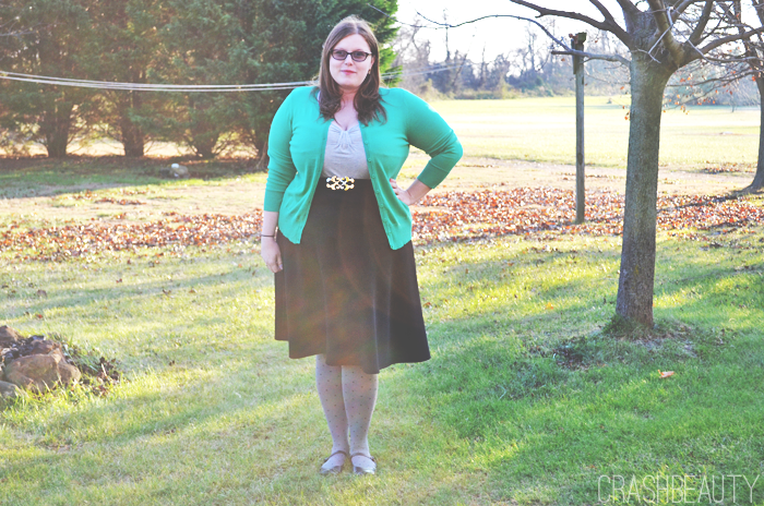 Picture of Full outfit. Cardigan and Skirt by Fashiontofigure, shoes by payless.