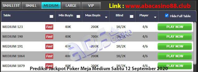 prediksi jackpot poker meja medium sabtu 12 september 2020