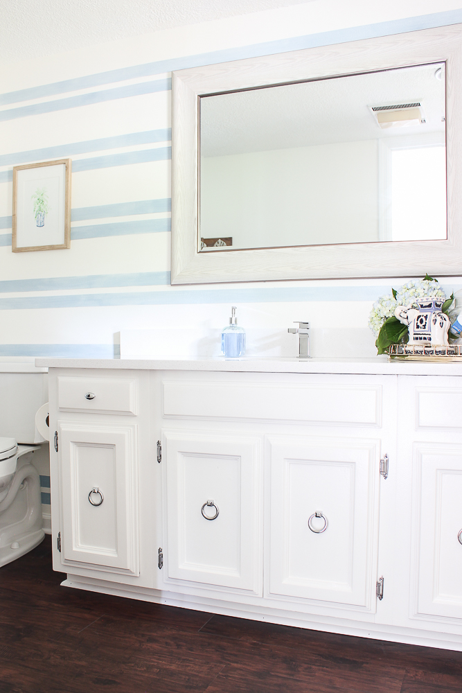 light blue stripes in bathroom budget makeover