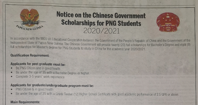 2020 study in china PNG Scholarship