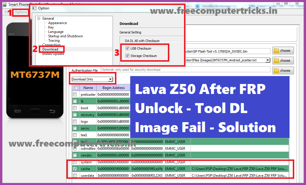 Lava Z50 FRP Unlock and Tool DL Image Fail Final Solution