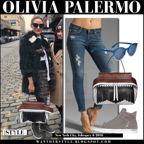 Olivia Palermo in green fur coat, skinny ag jeans with white brown fringed tods wave bag what she wore winter outfit