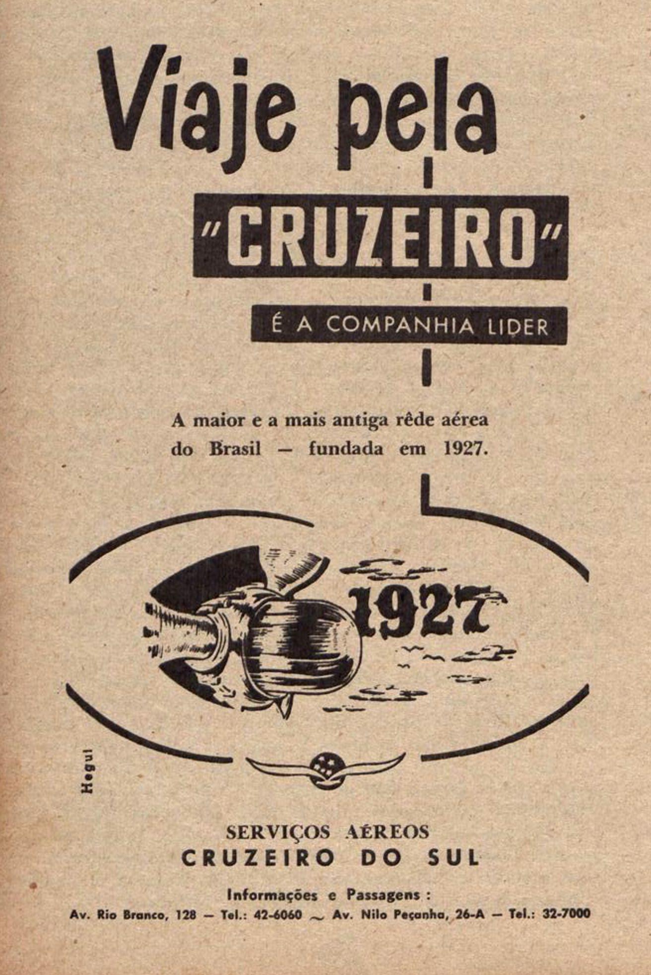 Anúncio de 1952 dos Serviços Aéreos Cruzeiro do Sul, pioneira na aviação no Brasil
