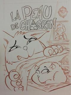 Croquis couverture La peau de Chagrin édition saperlivpopette ©Guillaume Néel