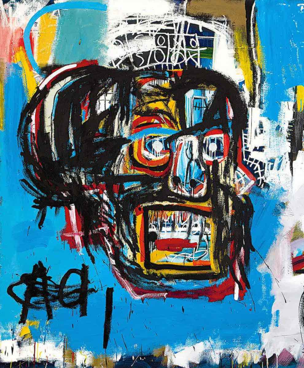 a painting of a man's head by Basquiat