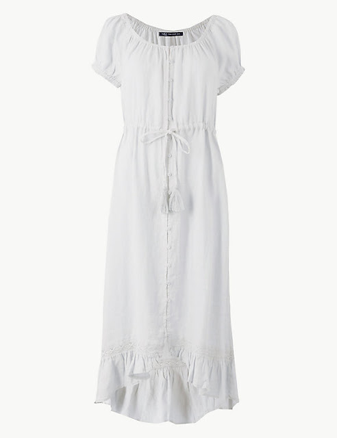 marks and Spencer pure linen waisted midi dress