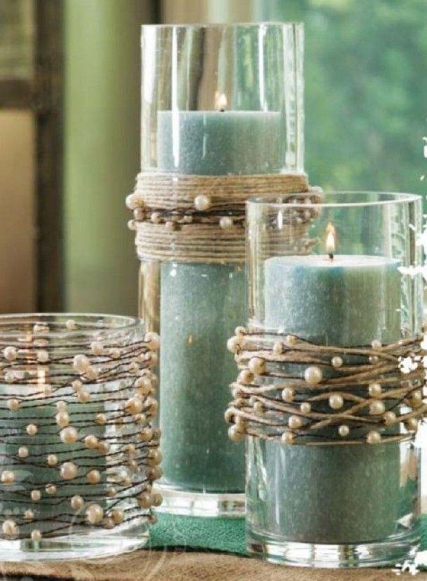 Decoracion DIY Navidad: Velas cuerda cordel perlas