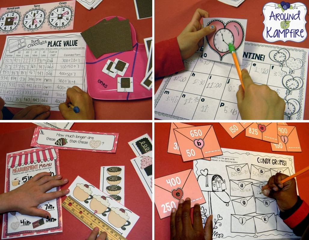 Ideas for a Valentine's Day math party with math centers!