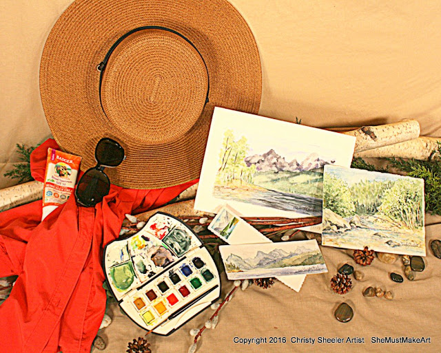 Watercolor quick sketches done with watercolor art kit, summer art travel